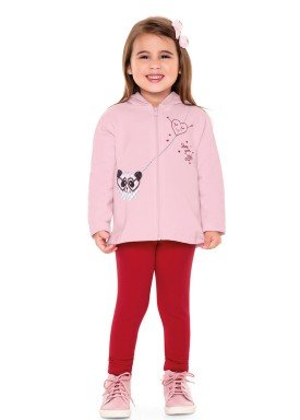 conjunto moletom infantil menina panda rosa fakini 1107 2