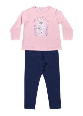 conjunto moletom infantil menina school rosa fakini 1104 1