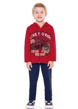 conjunto moletom infantil menino bikers vermelho fakini 1161 2