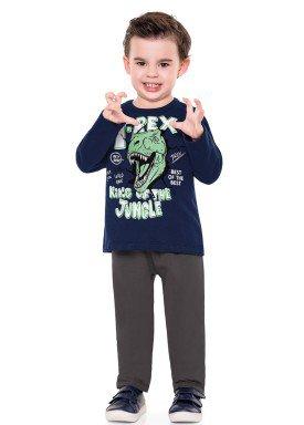 conjunto moletom infantil menino trex marinho fakini 1158 2