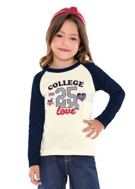 blusa manga longa infantil menina college marfim fakini 1059 2