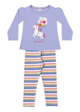 conjunto manga longa infantil menina balloonicorn lilas fakini 1020 1
