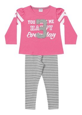 conjunto manga longa infantil menina everyday rosa fakini 1027 1