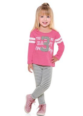 conjunto manga longa infantil menina everyday rosa fakini 1027 2