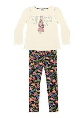 conjunto manga longa infantil menina lovely marfim fakini 1056