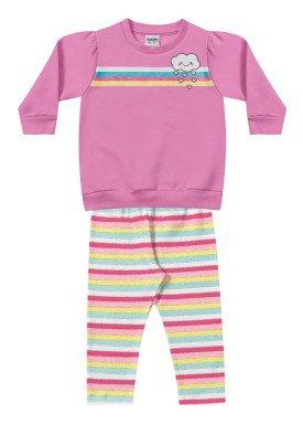 conjunto moletom bebe menina nuvem rosa fakini 1009 1