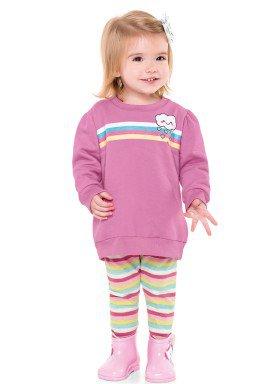 conjunto moletom bebe menina nuvem rosa fakini 1009 2