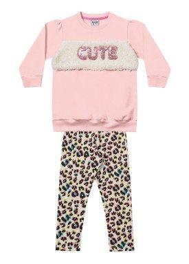 conjunto moletom infantil menina cute rosa fakini 1034 1