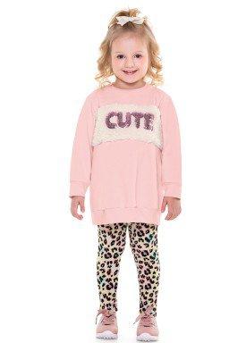 conjunto moletom infantil menina cute rosa fakini 1034 2