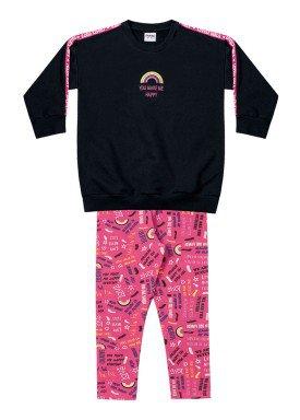 conjunto moletom infantil menina happy preto fakini 1025 1