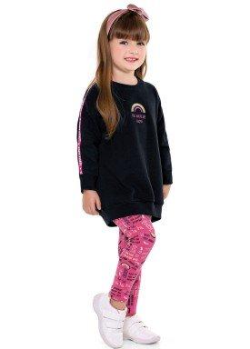conjunto moletom infantil menina happy preto fakini 1025 2