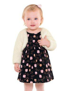vestido com bolero bebe menina preto fakini 1002 1