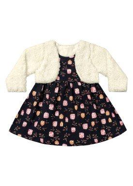 vestido com bolero bebe menina preto fakini 1002 3