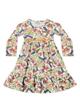 vestido manga longa infantil menina estampado marfim fakini 1021