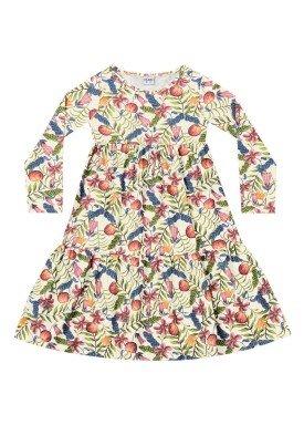 vestido manga longa infantil menina estampado marfim fakini 1055