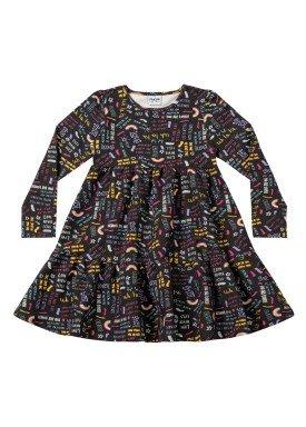 vestido manga longa infantil menina love preto fakini 1069 1