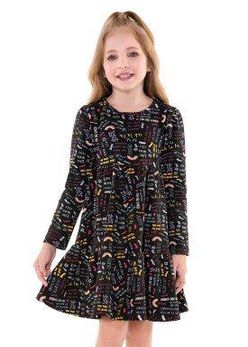 vestido manga longa infantil menina love preto fakini 1069 2