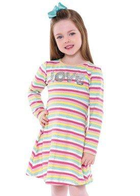 vestido manga longa infantil menina love rosa fakini 1044 2