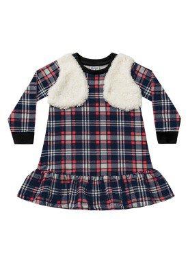 vestido manga longa xadrez infantil menina marinho fakini 1079 1