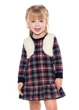 vestido manga longa xadrez infantil menina marinho fakini 1079 2