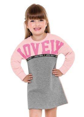 vestido moletom infantil menina lovely rosa fakini 1026 2
