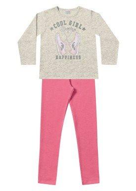 conjunto moletom infantil menina happiness mescla fakini 1109 1