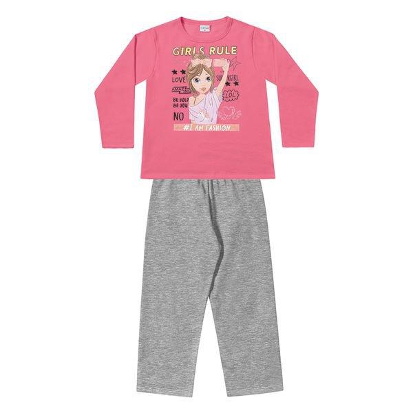 conjunto moletom infantil menina fashion rosa fakini 1110