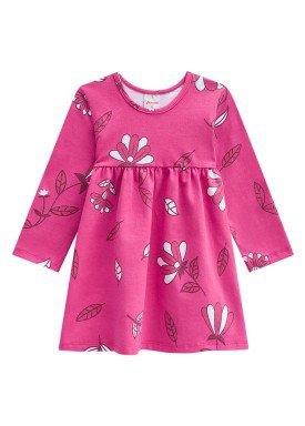 vestido manga longa bebe menina folhas rosa alenice 40956 1