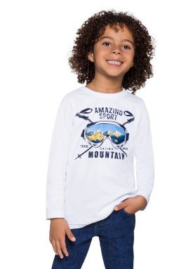 camiseta manga longa infantil menino mountain branco alenice 46946 2