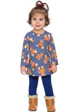 conjunto manga longa bebe menina ursinho marinho alenice 40957 4