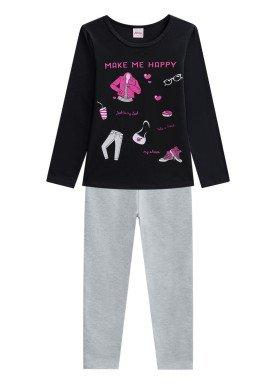 conjunto manga longa infantil menina happy preto alenice 46978 1