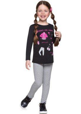 conjunto manga longa infantil menina happy preto alenice 46978 4