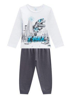 conjunto manga longa infantil menino trex branco alenice 44244 1