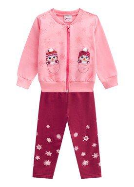 conjunto moletom bebe menina pinguim rosa alenice 40967 1