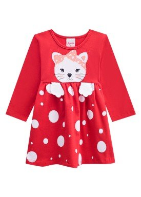 vestido manga longa bebe menina cat vermelho alenice 40961 1