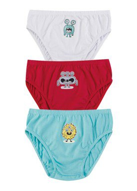 kit cueca 3pc s infantil menino monstros evanilda 02010042