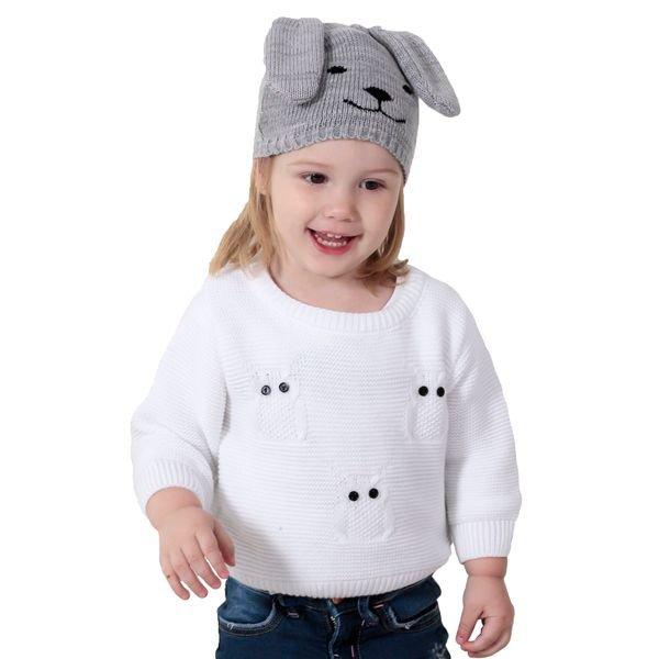 sueter trico bebe menina corujas branco remiro 1037