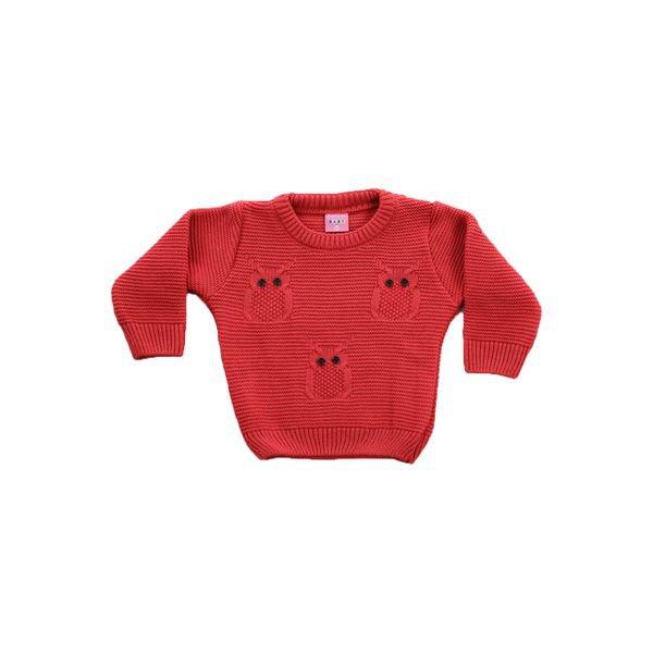 sueter trico bebe menina corujas vermelho remiro 1037