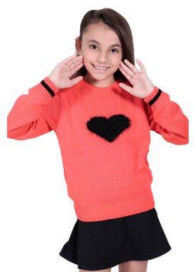 sueter trico infantil menina laranja remiro 1234