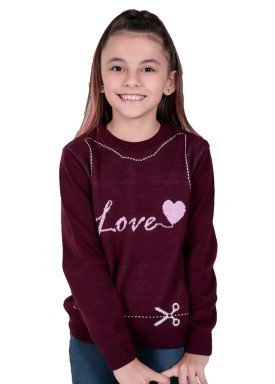 sueter trico infantil menina love bordo remiro 1233