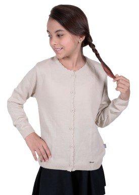 cardiga trico infantil menina bege remiro 1228