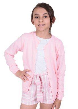 cardiga trico infantil menina rosa remiro 1228