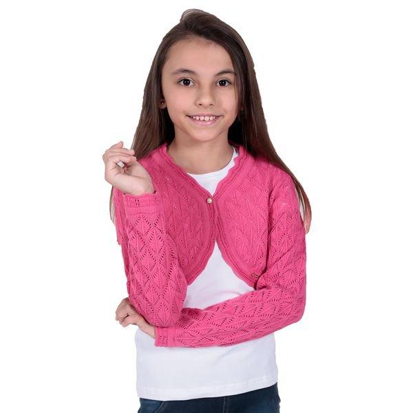 bolero trico infantil menina rosa remiro 1226