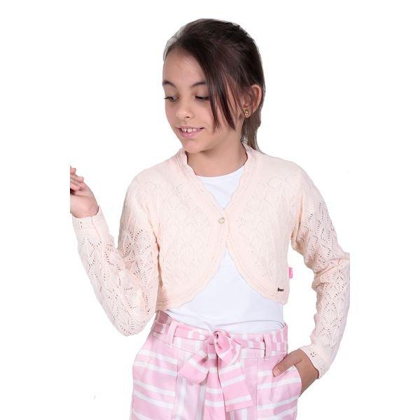 bolero trico infantil menina salmao remiro 1226