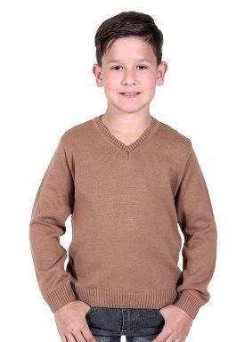 sueter trico infantil menino marrom remiro 1211
