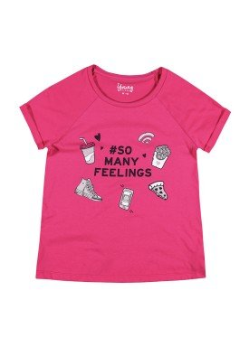 blusa juvenil feminina feelings pink youngclass 33031
