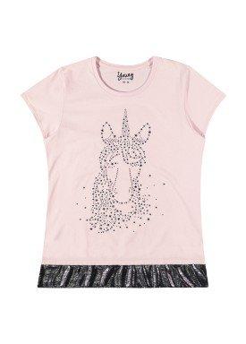blusa juvenil feminina unicornio rosa youngclass 33377