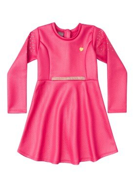 vestido manga longa infantil feminino pink mundi 53060