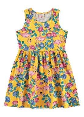 vestido infantil feminino flamingos amarelo alenice 46904