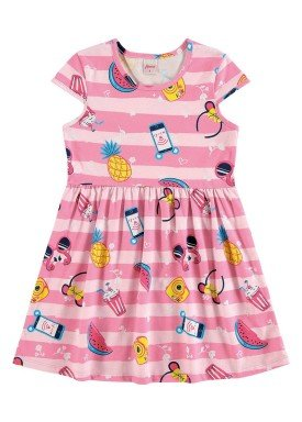vestido infantil feminino frutas rosa alenice 46905